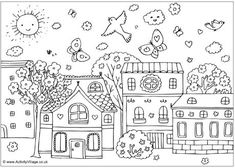 SPRING STREET scene. This beautiful scene is fun to colour, with lots of detail to keep children interested. FREE download from ACTIVITY VILLAGE.