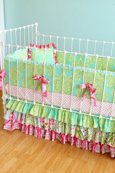 """Custom Ruffle Crib Bedding - """"Whimsical Garden"""" design. $425.00, via Etsy."""