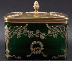 A 19th Century French Green Glass Box With Brass Cover.