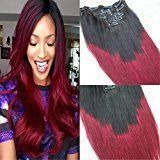"HairDancing 22"" 7Pcs 120g Color #1b Fading to Color #99j Wine Red Ombre Clip in Hair Extensions Human Hair Full Head Clip On Extensions Human Hair Remy Extensions"