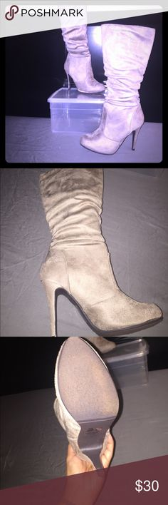 Cute Light Taupe Boot Light taupe ShoeDazzle boot. Never worn out, just around the house. Would love to keep them, but my calves are just too big. Price is negotiable ShoeDazzle Shoes Heeled Boots