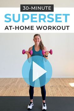 Your new favorite workout format is the SUPERSET WORKOUT! This full body workout combines two circuits of upper body and lower body exercises in a SUPERSET format, which is great for building muscle using weights you have at home, like dumbbells! Follow along as trainer Lindsey coaches you through 30 minutes of full body burn! Interval Training Workouts, Endurance Workout, Dumbbell Workout, High Intensity Interval Training, Hiit, Cardiovascular Endurance Exercises, Health And Fitness Tips, Fitness Tips For Women, Training