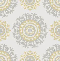 WallPops! Grey and Yellow Suzani Peel And Stick Wallpaper & Reviews | Wayfair