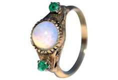 14K Gold, Opal & Emerald Ring