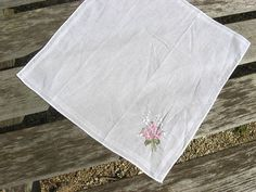 Pretty in Pink Handkerchief, French   embroidered linen. Bouquet of Geranium & Lily of the Valley flowers   on quality white vintage cotton gift @   PumpjackPiddlewick