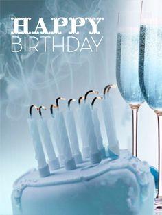Happy birthday, 11❤️, pastel y copas en azul