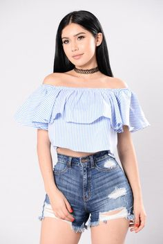 - Available in Blue - Off the Shoulder - Ruffle - Striped - Cropped - 65% Polyester 32% Cotton 3% Spandex