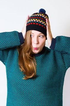 Knit Hat Leah - Multi-colored Pompom Beanie Hat made of merino wool, stripe pattern, black ribbed trim - knitted by MARGOT & ME Black Winter Coat, Beanie Hats, Beanies, Knitting Accessories, Hat Making, Candyland, Winter Collection, Bunt, Merino Wool