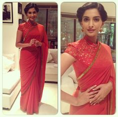 Blouse and hair like this with a  sari. She looks classy & elegant in a regal way.
