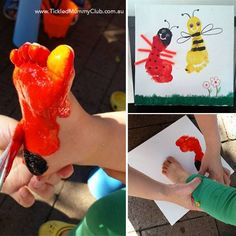 {Fun Family Craft} Aren't these footprint canvas arts adorable?! Click to see how fun and easy to make this footprint ladybug and bumblebee craft with your kids for spring or summer time! #kidscraft #footprintcraft #TickledMummyClub
