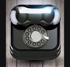 3d ios icon design. Vintage Black Thelephone. 3d max modelling, Vray render and Photoshop retouch.