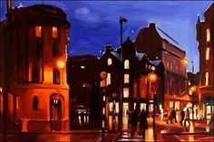 Atmospheric dusk view of Albert Square Manchester painted by Liam Spencer. Time Painting, House Painting, Art After Dark, A Level Art, Sense Of Place, Fantastic Art, Nocturne, Time Art, Urban Landscape