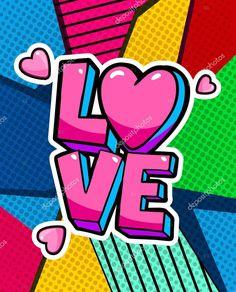 Love you word bubble. Message in pop art comic style. Pop Art Wallpaper, Heart Wallpaper, Pink Canvas Art, Canvas Art Prints, Framed Canvas, Framed Prints, Pop Art Drawing, Art Drawings, Modern Pop Art