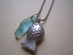 Hilltribe Hill Tribe Sterling Silver Fish Sea Glass Seaglass Necklace OOAK £23.95