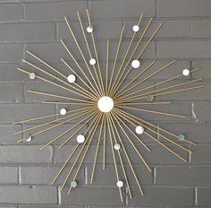 "Choose Your Size! 26"" Hand Welded by Lisa Steel Starburst Sunburst Modern Metal Wall Art Mirror Sculpture Atomic Interior House Staging"