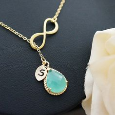 Infinity charm with Personalized leaf and mint opal glass drop Necklace from EarringsNation