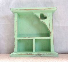 Green distressed Shadow Box with heart wood by streetcrossing