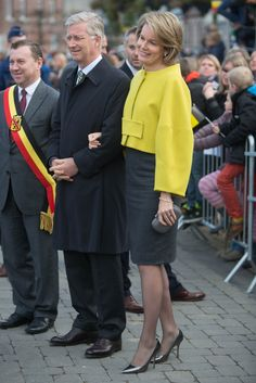 King Philippe and Queen Mathilde of Belgium visit Mathy by Bois in Couvin in Namur, Belgium, November 19, 2014.