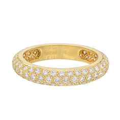1stdibs | CARTIER Pavé Diamond Bombé Eternity Band (~3.2 ct tw) - Diamond bombé eternity band ring, designed with three rows of pavé-set round-cut diamonds weighing approximately 3.20 total carats, mounted in 18k yellow gold, numbered F65831, circa 1995, signed Cartier. Size 5.25 (51 - European).