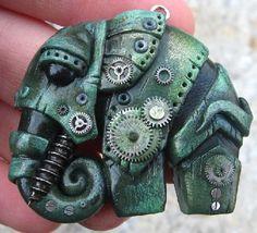 Biomechanics-steampunk-Elephant.-Material-polymer-clay-pastels-metallic-powders-parts-of-watch-varnish.jpg (500×454)