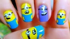 Despicable Me Minions Wow Nails, Cute Nails, Pretty Nails, Nail Art Diy, Cool Nail Art, Minion Nail Art, Nail Art Videos, Minions, Cool Nail Designs