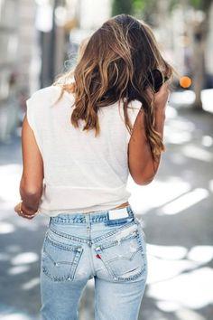 white tshirt + blue jeans