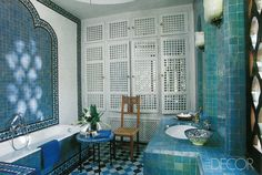 At Dar Es Saada, the guesthouse at legendary couturier Yves Saint Laurent's Marrakech home, designer Bill Willis gave each of the six bathrooms its own style by employing tilework in an array of hues. See more photos of this home.   - ELLEDecor.com