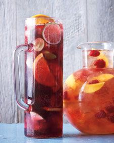 Classic Sangria - via MarthaStewart   1.In a pitcher or large bowl, combine orange, lime, apple, grapes, brandy, and red wine (I like Barefoot's Sweet Wine). Stir to combine and refrigerate 1 hour (or up to overnight). To serve, add soda and ice.