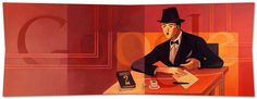 Fernando Pessoa's 123rd Birthday [123 года со дня рождения Фернандо Пессоа] /This doodle was shown: 13.06.2011 /Countries, in which doodle was shown: Brazil, Portugal
