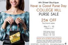 Never have a bad purse day! 25% off purses May 7-10 @ 4th Street Boutique College Hill. www.4thstreetboutique.org.