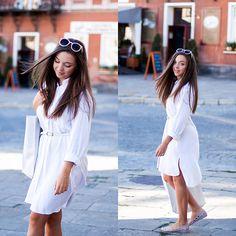 Gabriela Grębska - The Great Beyond Dress, Noos Icon Flats, Asos Shopper Bag, Zero Uv Sunglasses - White shirt dress
