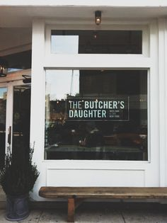 signage at the butcher's daughter, a vegetarian cafe and juice bar from heather tierney in nolita (photo by stephanie duval)