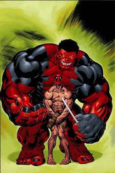 Red Hulk vs Deadpool by Ed Mcguinness