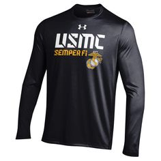 Under Armour White USMC Performance BLACK LS Tee