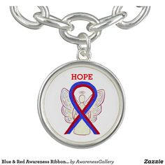 Pulmonary Fibrosis Awareness Ribbon Keychain Red And Blue