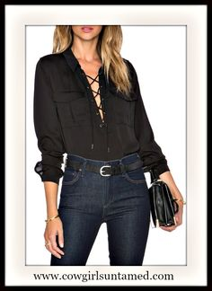 SEXY COWGIRL GLAM TOP Black Silky Long Sleeve Lace Up Neckline Blouse  #silky #top #shirt #blouse #laceup #longsleeve #colar #boutique #cowgirl #western #style #fashion #beautiful #sexy #party