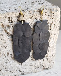 Sparkling fashion long urban earrings. Black layered recycled leather, gold colored hooks. Ready to ship.