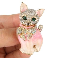 Cat Bowknot Brooch Pin Pink Austrian Crystal Enamel 18k Gold GP Christmas -E976