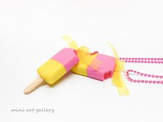 25% off SALE - Popsicle necklace, ice-cream kawaii, miniature food jewelry, mini food necklace / strawberry, lemon / handmade polymer clay jewelry.  By Mini Art Gallery. https://www.etsy.com/shop/MiniArtGallery