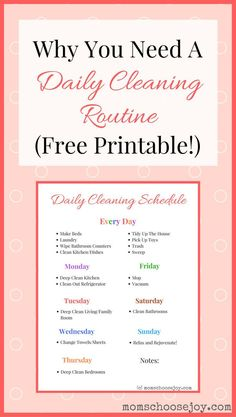 Why You Need A Daily Cleaning Routine (Free Printable!) A daily cleaning routine will help you save time and keep your home clean! I laminated this daily cleaning checklist printable to help keep me motivated. It works! House Cleaning Tips, Deep Cleaning, Cleaning Hacks, Cleaning Wipes, Diy Hacks, House Cleaning Motivation, Cleaning Routines, Household Cleaning Schedule, Household Chores Chart