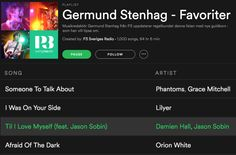 Tack/Thank you Germund Stenhag for the Til' I Love Myself add in your Favourites Spotify playlist! https://open.spotify.com/user/p3_sverigesradio/playlist/7BwvSdzPS5uGUoDHkEGUz6