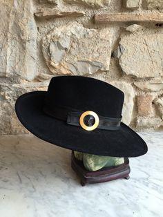 Cappello Gallia Peter / Cappello Vintage Nero / Copricapo donna Fedora / Cappello unico / Cappello d'epoca by nonaprirequellarmadi on Etsy