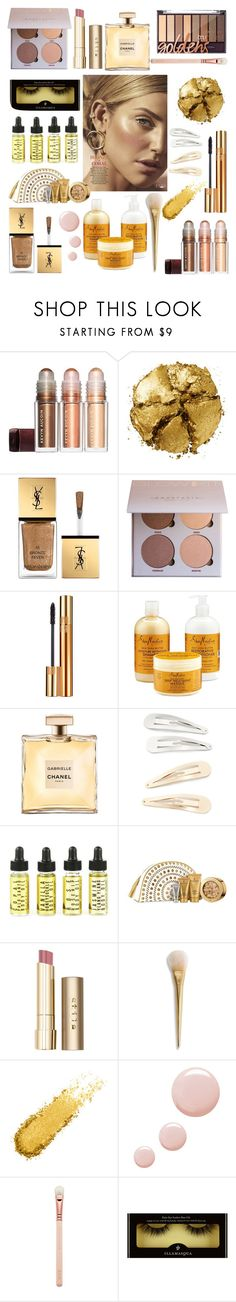 """all that glitters is gold"" by chelseayvonne ❤ liked on Polyvore featuring beauty, Pat McGrath, Yves Saint Laurent, SheaMoisture, Kitsch, Elizabeth Arden, Stila and Topshop"