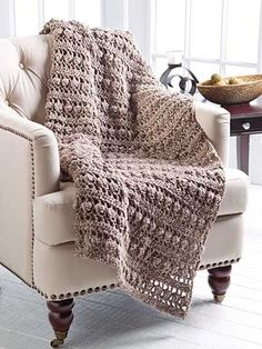 Crochet - Tree Bark Throw - #EC01084