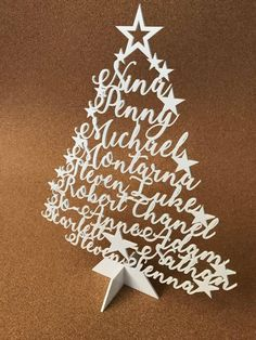 Personalized Christmas Tree Family Name Ornament Laser Cut Names Xmas Tree Plaque Freestanding Custom sign Family Names Christmas Decoration Christmas Decorations, Christmas Ornaments, Holiday Decor, Family Signs, Christmas Items, Xmas Tree, 3d Printing, Paper Crafts, Names
