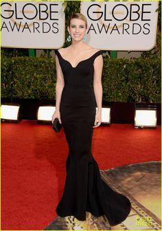 Black. Off-shoulder. Lanvin. Golden Globes 2014. Emma Roberts.