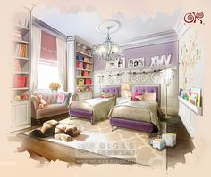 Design of the Room for 2 Girls http://interior-design.pro/en/blog/design-of-the-room-for-2-girls.php