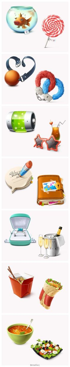 mis Fish tank, lollipops, handcuffs, batteries, wallet, rings, food icons design