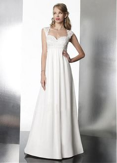 Buy discount Over Lace & Chiffon Empire Portrait Neckline Empire Waist Cap Sleeves Beautiful Wedding Dresses at Magbridal.com