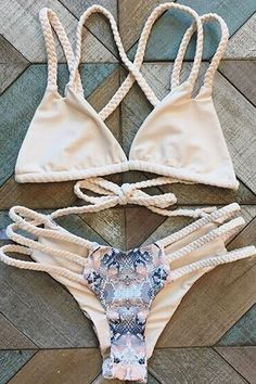 Handed Print Cut Out Straps Bikini Set | http://www.zaful.com/handed-print-cut-out-straps-bikini-set-p_168925.html
